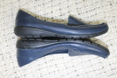 625116f3e72 EASY SPIRIT Womens Sz 9.5 Navy ABIDE Leather Casual Slip Ons Loafers Flats