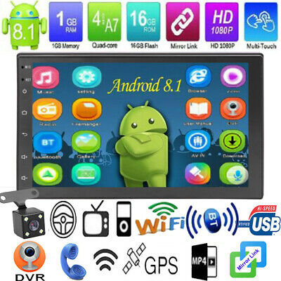"7"" 2 DIN Android 8.1 Autoradio Car Stereo MP5 Player GPS Navigatore+Telecamera"
