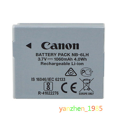 Brand New Original OEM Canon Battery Pack NB-6LH 3.7V, 1060mAh 4.0Wh (Li-ion)