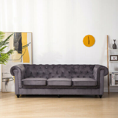 Grey Velvet Lobby Sofa Large Luxury 3-Seater Couch Settee Scroll Arm Chair 200cm