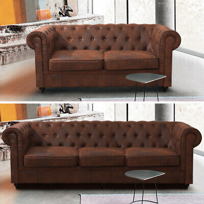 Distressed Tan Leather Sofa 3 +2 Seater Lounge Armchair Suite Chesterfield Brown