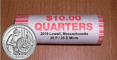 2019 LOWELL MASSACHUSETTS ROLL 20P/20D (40 coins) BU coins