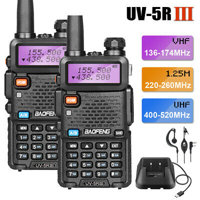 2x BAOFENG UV-5R III Tri-Band Ham FM Two Way Radio Interphone 5W Walkie Talkie