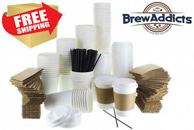 JUMBO Pack White Coffee Cups   Insulated Disposable Hot with Lids, Sleeves &...