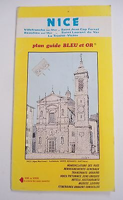 Vintage Map/guide Of Nice France~(French Riviera) Plan Guide Bleu Et Or~Streets
