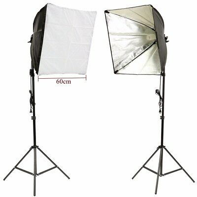 Photo Studio Video Photography Continuous Lighting Kit Soft Box+Light Stand+Bulb