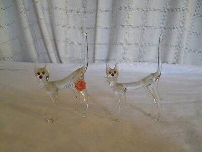 Vintage hand crafted glass cat figures  set of 2pc Germany