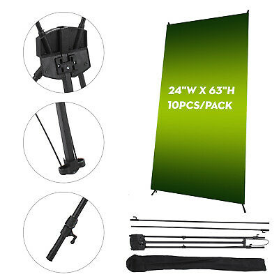 """10Pcs X Banner Stand 24"""" x 63"""" Trade Show Display Tripod Stand Exhibition W/ Bag"""