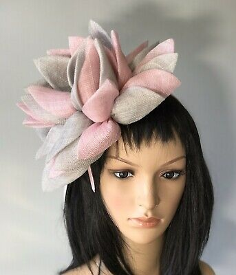 STUNNING BRAND NEW SILVER GREY PINK FASCINATOR ASCOT Wedding Occasion formal Hat