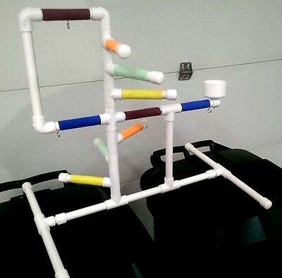 """Deluxe Small 1/2"""" PVC Parrot Perch  Stand  Play Gym ** Birds Love Them!"""