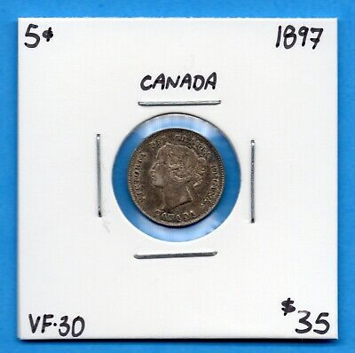 Canada 1897 5 Cents Five Cent Small Silver Coin - VF/EF