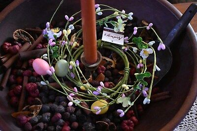 New Primitive Farmhouse Country Spring Easter Pastel Eggs Candle Ring Home Decor