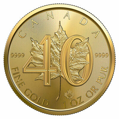 2019 Canada 1 oz Gold Maple Leaf 40th Anniversary $50 GEM BU Coins SKU57096