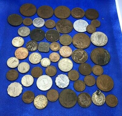 job lot of UK & worldwide coins Vintage Old Coin