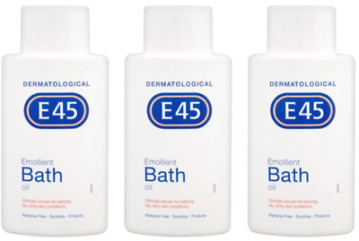 3 x E45 Emollient Bath Oil  for dry skin / 500 ml **FREE UK Delivery