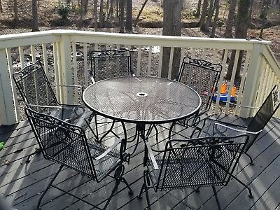 Wrought Iron 7 Piece Patio Dining Set Deck Furniture Outdoor Mesh Table Seats