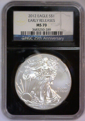 2012 Silver NGC MS70 Eagle Black RETRO 25th Ann Label  MS 70 EARLY REL #289