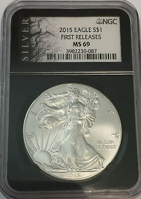 2015 Ngc Ms69 Silver Eagle Retro Black Core Early Releasesms 69 Gk#087