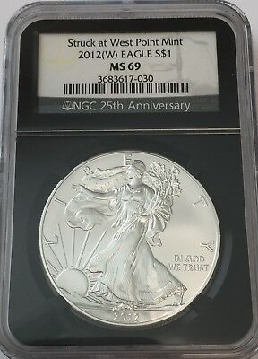 2012 (W) Ngc Ms69 Silver Eagle Retro Black Core Ms 69 Gk#030