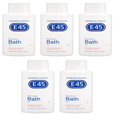 5 x E45 Emollient Bath Oil  for dry skin / 250 ml **FREE UK Delivery