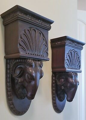PR VTG 1920s WOODEN WALL SAFE SCONCE SHELF CORBELS CARVED BLACK FOREST RAMS HEAD