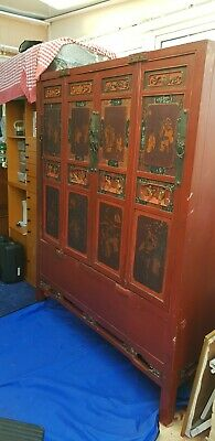 Large painted red lacquered Antique Chinese carved cabinet royalty horse scenes