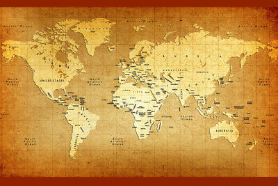 Detailed Old World Antique Style Map Poster 18x12 inch