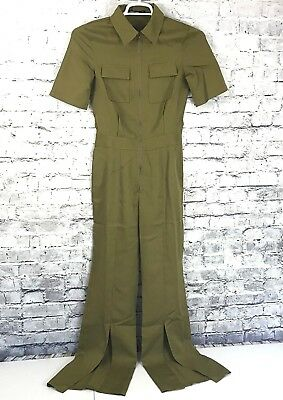 73066277840e Nasty Gal Womens Size US 4 Zip Up Jumpsuit Split Leg Military Style Green  NWT