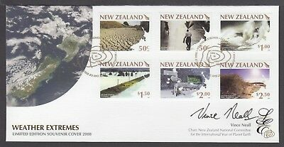 New Zealand Limited Edition Fdc Signed, 2007 Weather Extremes