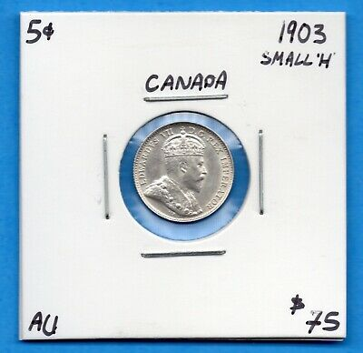 Canada 1903 H Small H 5 Cents Five Cent Small Silver Coin - Trend $75 - Nice AU