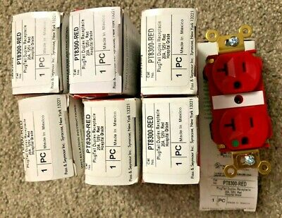 Qty/7 New Legrand Hospital Grade PlugTail Duplex Receptacle 20A 125V Red PT8300