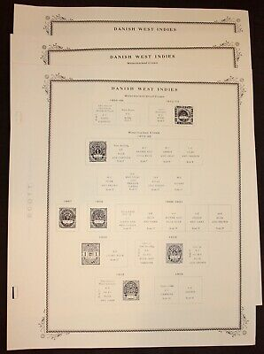 Danish West Indies Scott Album Pages, Two Post, Never Used (No Stamps)