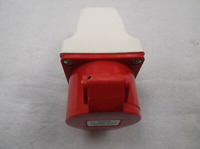 16 amp 5 pin angled surface socket 3P+N+E weatherproof IP44 3 phase 415V 16A RED