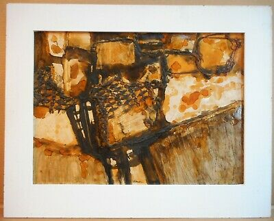 Abstract mixed media by listed Bradford artist Gerald French c 1970