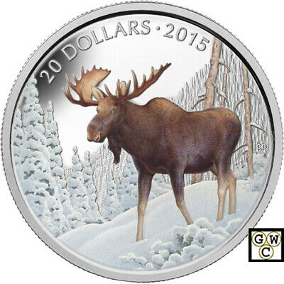 2015 'The Majestic Moose' Color Proof $20 Silver Coin 1oz .9999 Fine(14070)OOAK