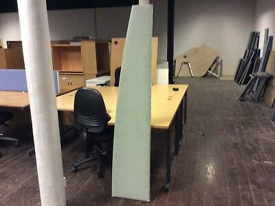 Grey with Green Tint Shaped Desk Divider