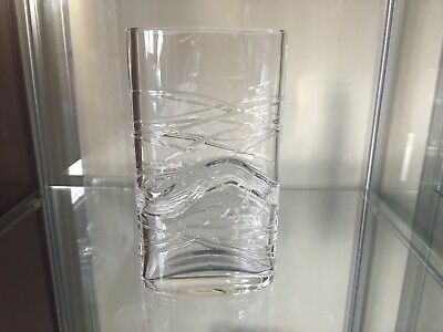 Clear Art Glass Vase with Clear Glass Overlay