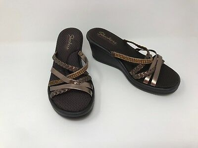 7875e69d827b Women s Skechers Rumblers Wild Child Wedge Sandals Brown Bronze 38566 A68