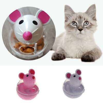 Plastic Cat Mouse Shape Tease Tumbler Playing Toy Kitty Food Treat Dispenser