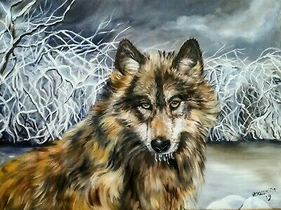 """WILD GAZE oil on canvas,18X24""""""""  a beautiful wolf in a winter land setting. Sale"""