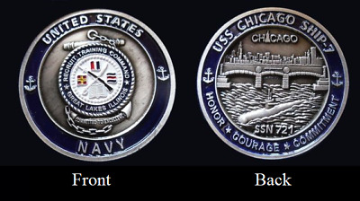 ~ USS Chicago ~ Ship 7 ~ US Navy Recruit Training Command Challenge Coin ~