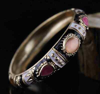 Chinese Cloisonne Hand Carve Auspicious Exquisite Girl Adjust Decorate Bracelet
