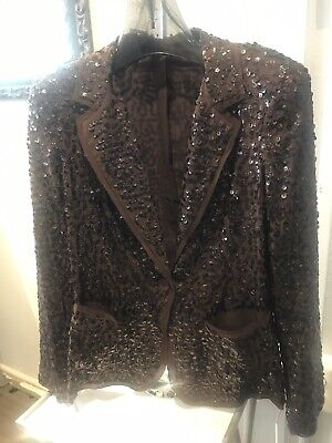 Brown Silk Jacket with Brown sequence throughout