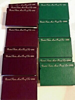 Lot of 12 US Mint Proof Sets in box with COA