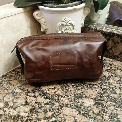 *NEW* Pottery Barn Saddle Leather Toiletry Case