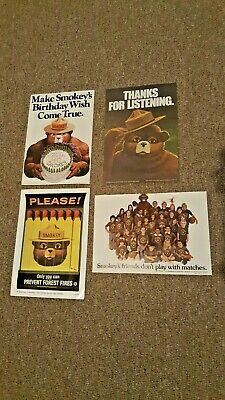 Lot Of 4 Original Vintage Smokey The Bear Usfs Forest Fire Prevention Posters!