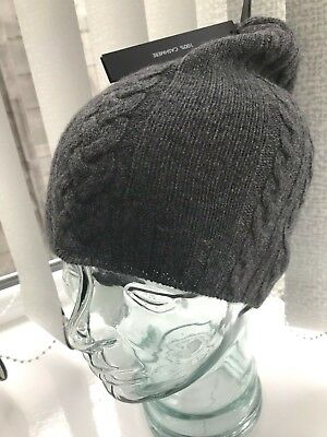 155c3d72e2d14 UNIQLO BEANIE HAT 100% cashmere wool cable knit ribbed stretch black ...