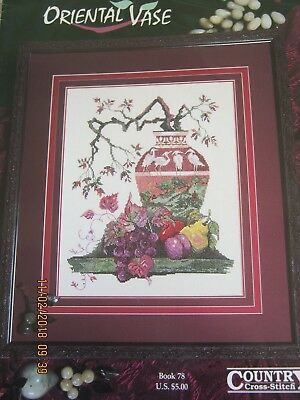 Oriental Vase Crossstitch Chart Crane Fruit Mountain