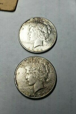 Lot of 2 Peace Silver Dollars (1922D & 1923S)