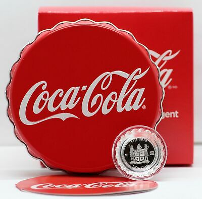 Coca-Cola Bottle Cap Shaped Silver Coin 6g 999 Fiji $1 2018 Coke in OGP Box COA